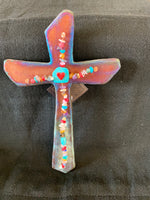 "Raku Wall Cross; 10""H x 6 1/4""W"