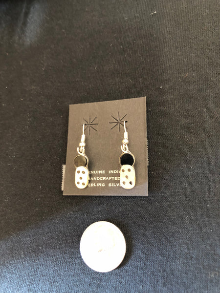 Zuni bug in stone and shell, sterling silver earrings.