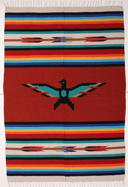 Handwoven Mexican Style Thunderbird  Blankets in recycled fibers 5' x 7'
