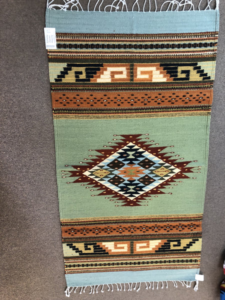 "Handwoven Zapotec Wool Rug 2015 from a Oaxaca, Mexico; 30""x60"""