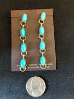 Genuine Turquoise and sterling silver earrings.  Navajo