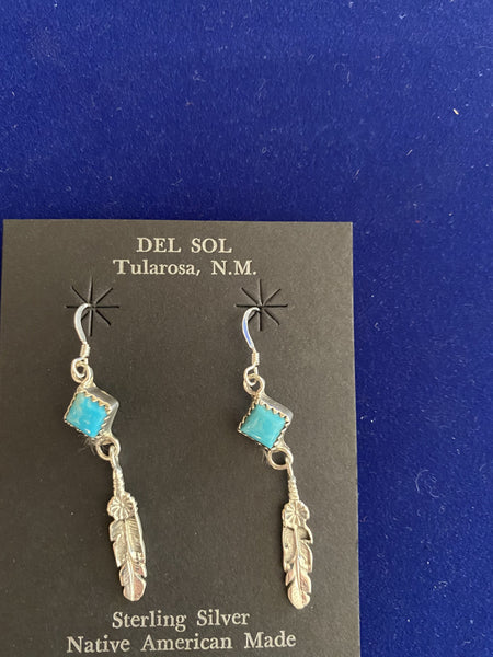 "Navajo Sterling Silver Turquoise Earrings; Approx. 2""L X 1/4""W; ER31-1"