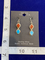 Native American Sterling Silver Turquoise and Coral Earrings; ER-C11
