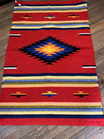 Handwoven Hacienda Style Acrylic Rug; 4x6; Red Multi