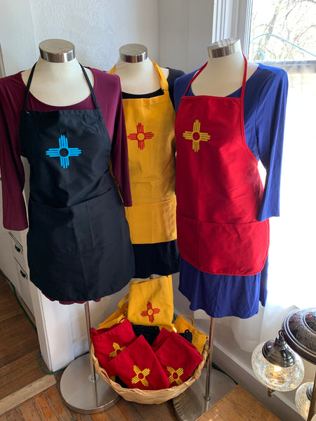 New Mexico True Aprons; Embroidered Zia Symbol