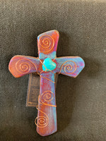 "Raku Wall Cross; 7""H x 4.5""W"
