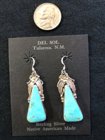 Turquoise triangle, Native American made sterling silver earrings by Virginia Beconti