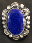 Large Lapis Ring, sterling silver, Navajo handcrafted.