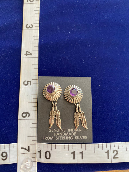 Native American Sterling Silver Earrings; ER-F6