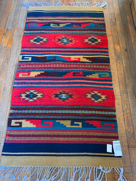 "Zapotec Handwoven Wool Rug; Approx 30""x60""; Tan, Red, Teal, Navy, Burgundy"