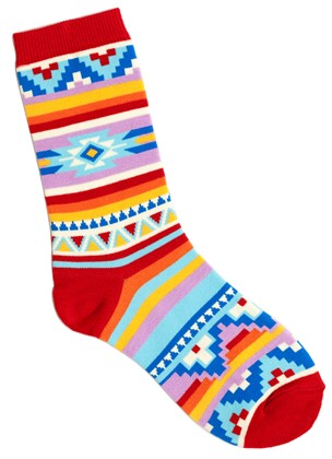 Red and multi color blanket design socks.