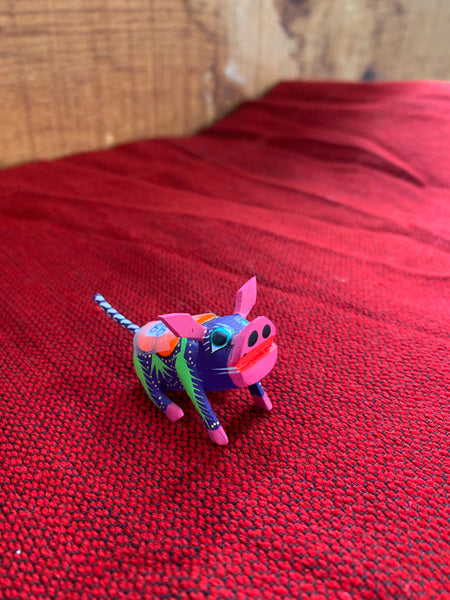 "Alebrijes; Handcrafted Oaxacan Purple Pig; Approx 1.5"" Wide x 1"" Tall"
