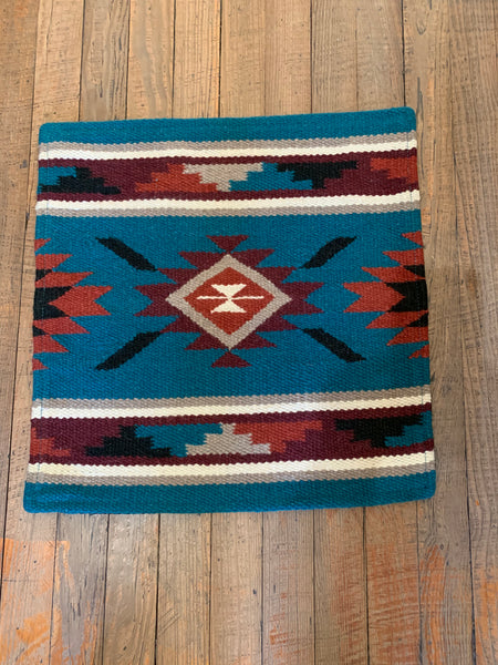 "Wool Throw Pillow; Turquoise, Burgundy, Cream, Rust, Black, Taupe; 18""x18""; Insert Included"