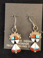 Sun God in sterling silver with genuine stones inlay, Zuni