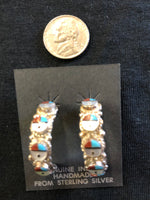Sun God hoop, Native American handcrafted sterling silver earrings. Zuni Sun God