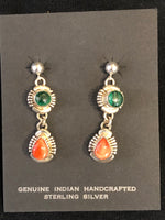 Malachite and Spiney Oyster earrings in sterling silver, Navajo