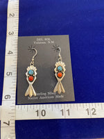 Native American Sterling Silver Turquoise and Coral Earrings