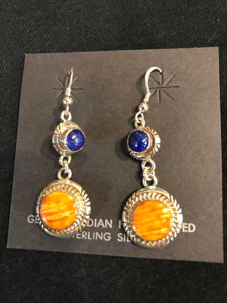 Spiney Oyster and Lapis sterling silver earrings, Navajo.