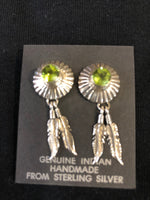 Peridot sterling silver earrings with feather, Navajo.