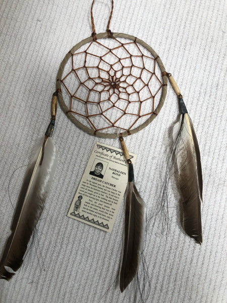 "6"" dream catcher with feathers, all natural color"