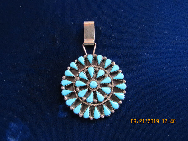 Turquoise Cluster Pendant, genuine stone, Native American handcrafted.