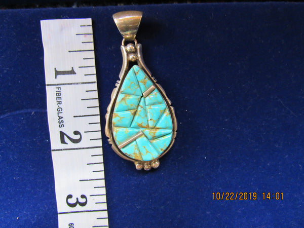 Turquoise Pendant; #8 Turquoise, Native America made; Signed and stamped by the Artist