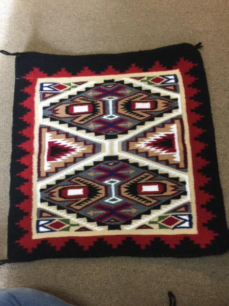 "Navajo Handwoven Rug approximately 23""x23.5"" artist Rosemary Sagg"