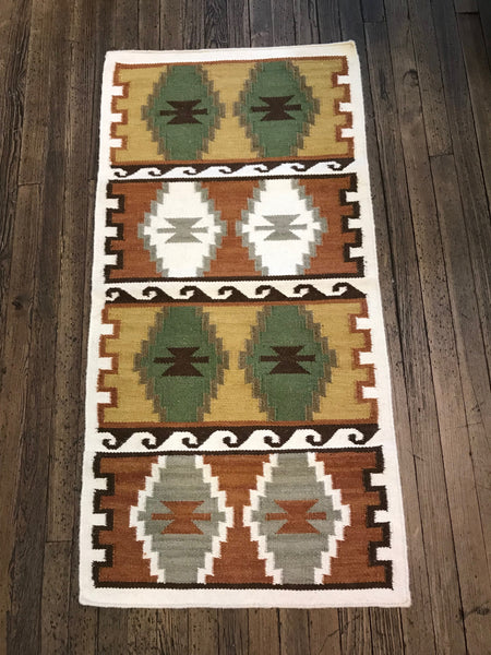 White border with earth tones rug
