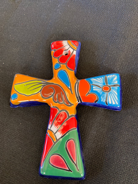 "Mexican Pottery Wall Cross; Approx. 6.5""H X 5.5""W; CC1-14"