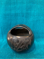 "Santa Clara Handcrafted Black Pottery; Approx. 4.5""H X 4""W; Artist Margaret Garcia; SCP1-21"