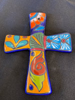 "Mexican Pottery Wall Cross; Approx. 6.5""H X 5.5""W; CC1-9"