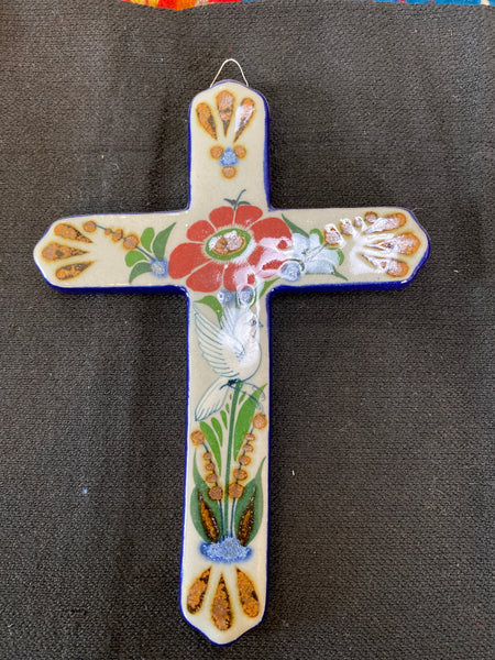 "Mexican Pottery Wall Cross; Approx. 8""H X 5.5""W; LMC1-14"