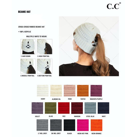 Criss Cross Pony Beanie Caps