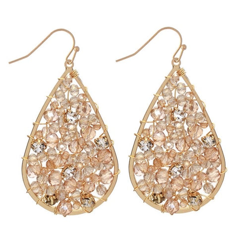 Wire Beaded Teardrop Earrings Featuring Rhinestone Accents