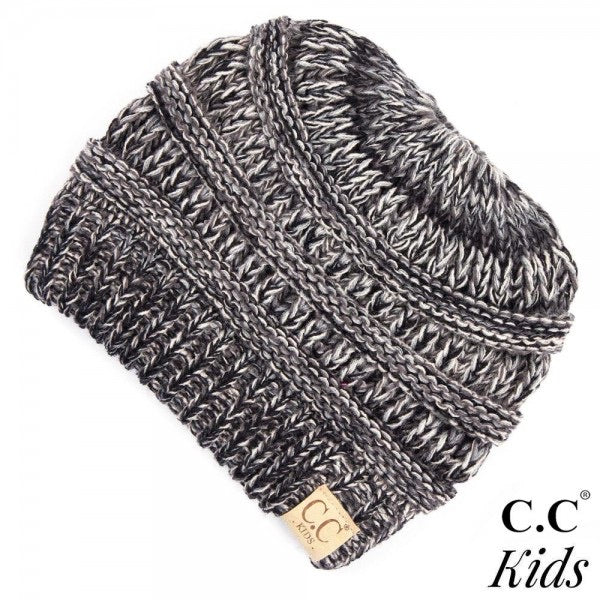Kids Multicolor Knit Ponytail Beanie