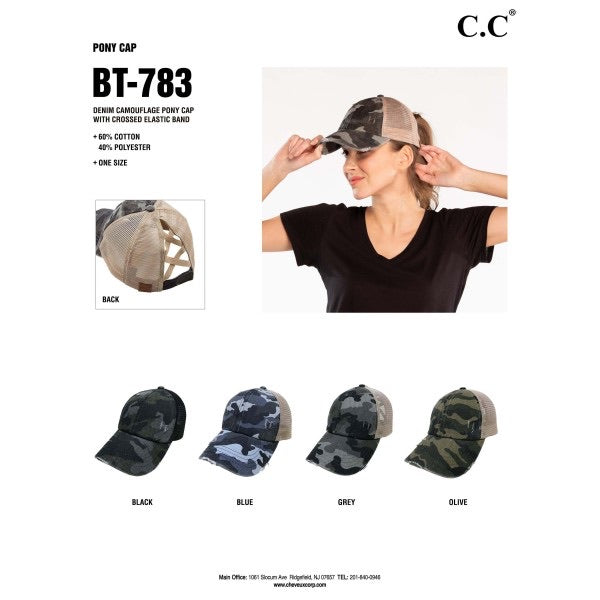 Criss Cross Pony Cap - Camo