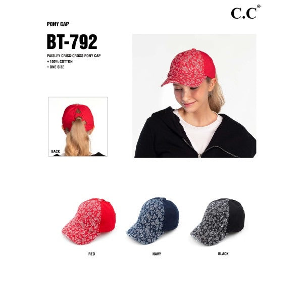 C.C BT-792 Vintage Distressed Paisley Criss Cross Pony Tail Cap