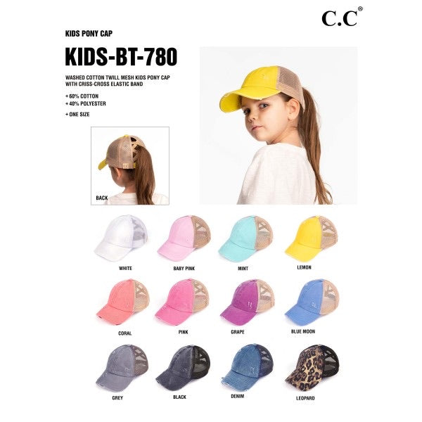 C.C KIDS-BT-780 KIDS Distressed Criss Cross Pony Cap with Mesh Back
