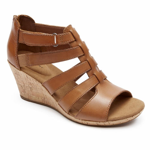 Rockport Women BRIAH GLADIATOR DK TAN/LEATHER