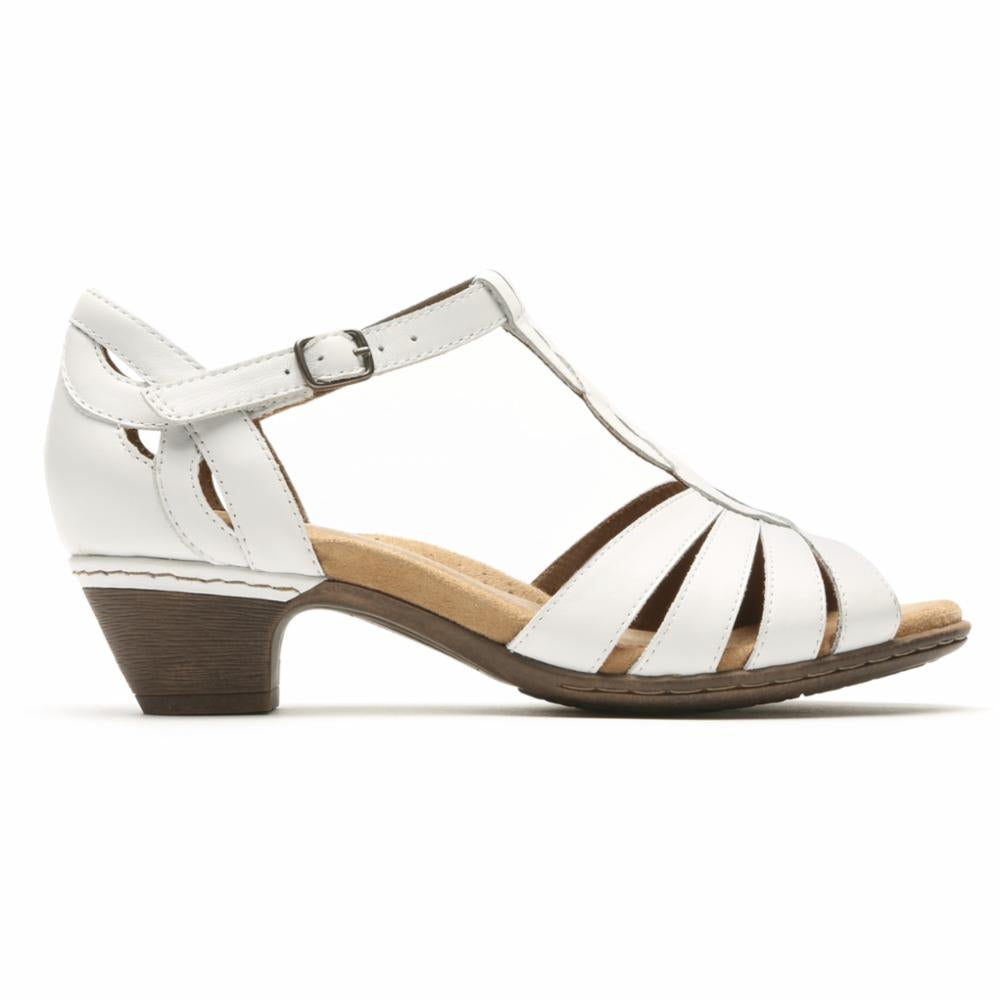 Cobb Hill ABBOTT CURVY T WHITE/LEATHER