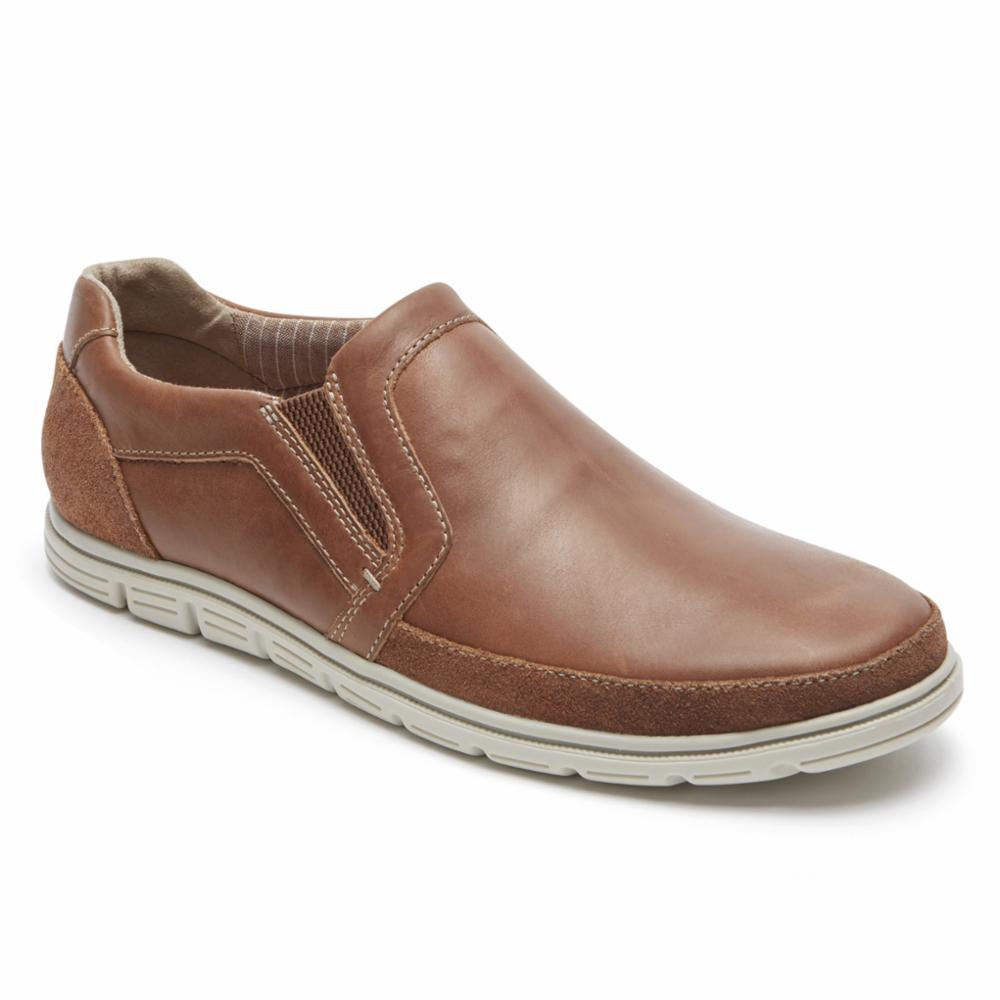 Rockport Men BOWMAN DBLE GORE SO BOSTON/TAN LEATHER