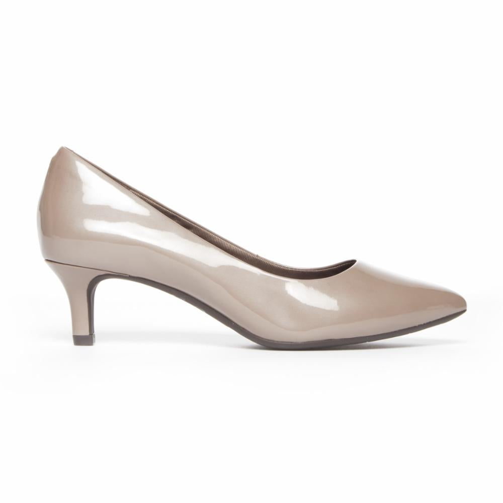 Rockport Women TOTAL MOTION KALILA PUMP TAUPE GREY/PEARL PATENT