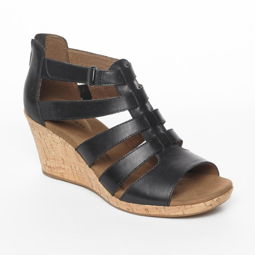 Rockport Women BRIAH GLADIATOR BLACK/LEATHER