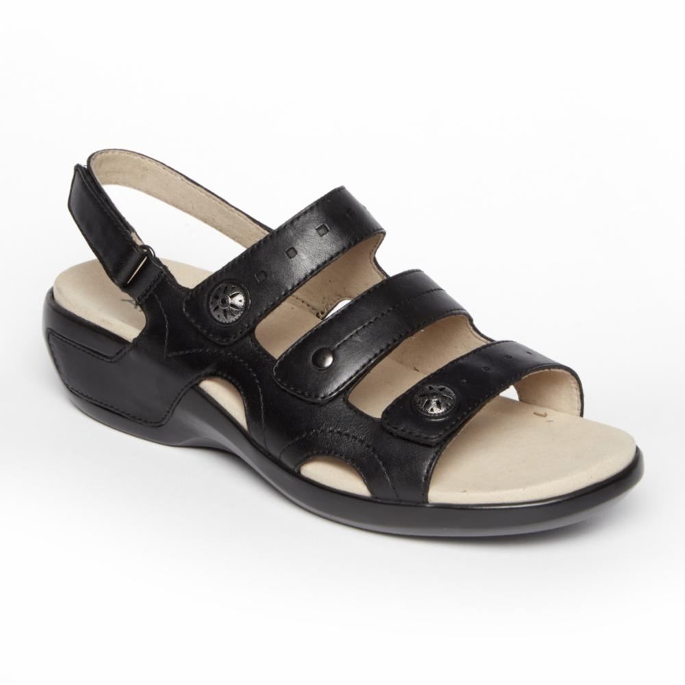 Aravon POWER COMFORT SANDALS THREE STRAP BLACK/LEATHER