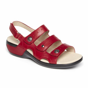 Aravon POWER COMFORT SANDALS THREE STRAP RIO RED/LEATHER