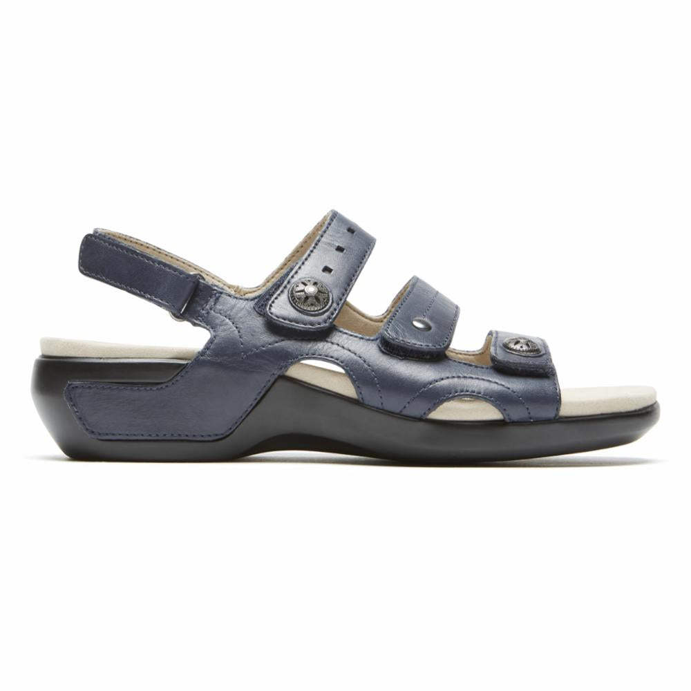Aravon POWER COMFORT SANDALS THREE STRAP NAVY/LEATHER