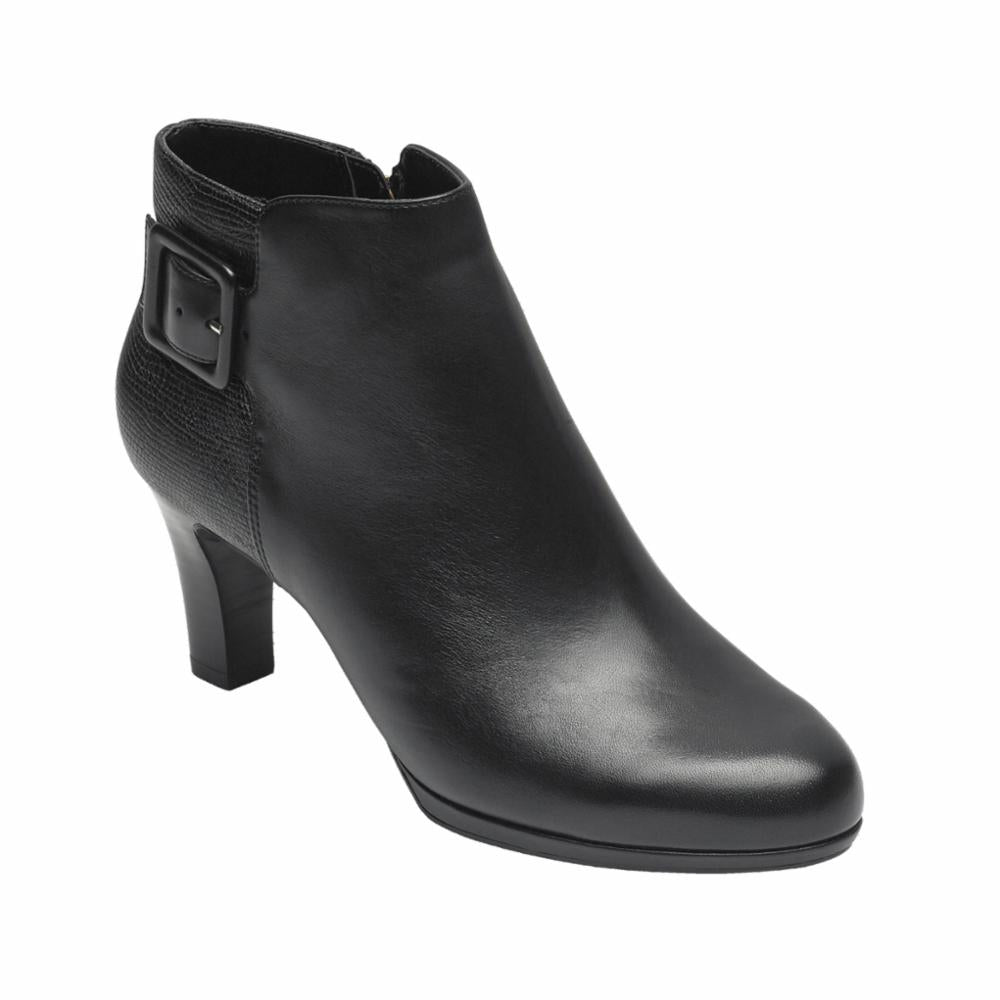 Rockport Women TOTAL MOTION LEAH BOOTIE BLACK/LEATHER