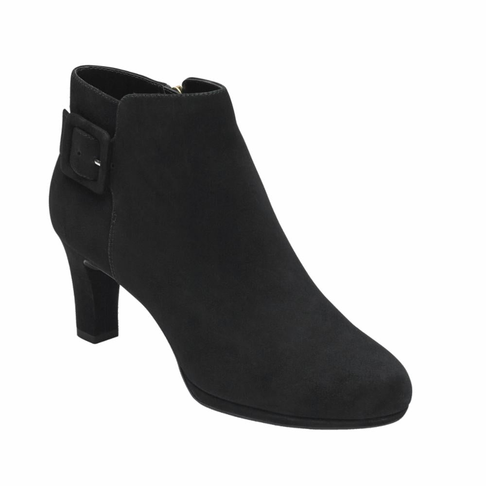 Rockport Women TOTAL MOTION LEAH BOOTIE BLACK/KID SUEDE