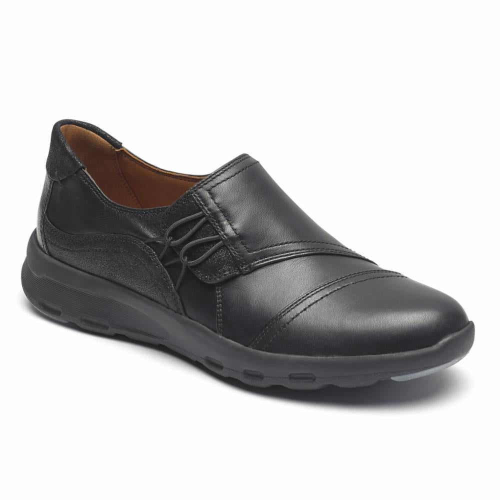 Rockport Women LETS WALK HIVAMP SLIP-ON BLACK/LEATHER