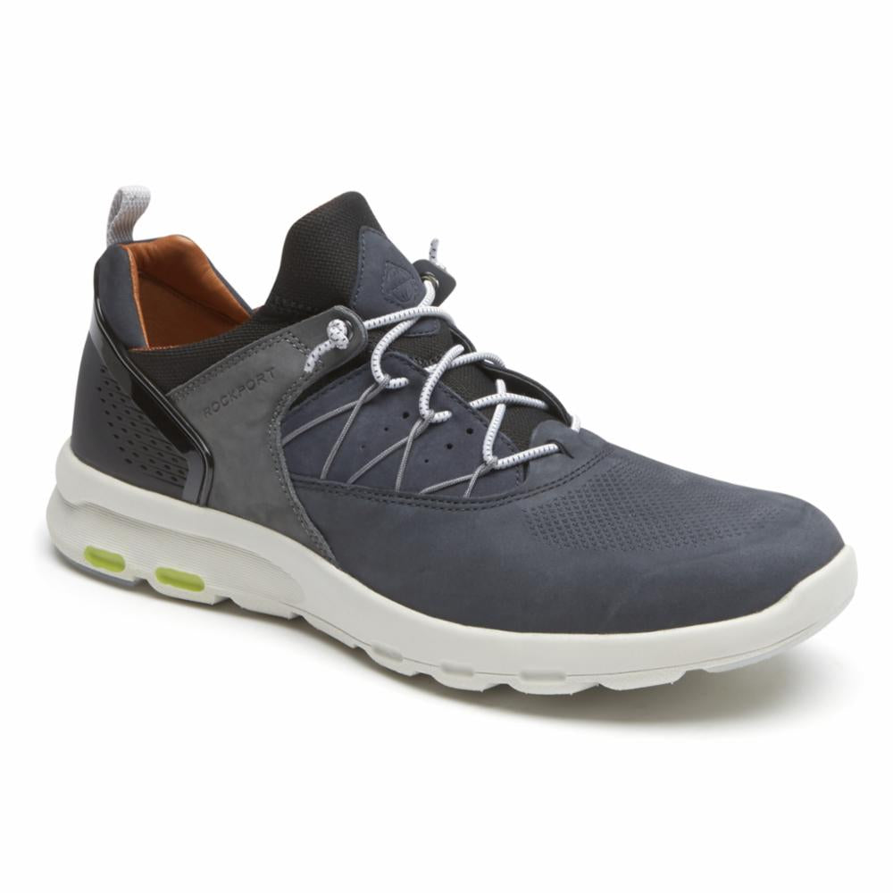 Rockport Men LETS WALK M BUNGEE BLUE/NUBUCK